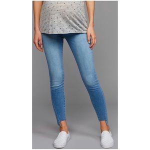 7 for All Mankind maternity skinny jeans raw hem